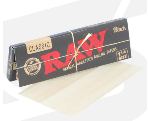 "Raw - Classic Black Rolling Papers - [1.25"" x 1 1/4""]"
