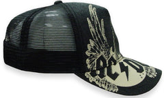 AC/DC Guitar Wings Vintage Trucker Hat (Black)
