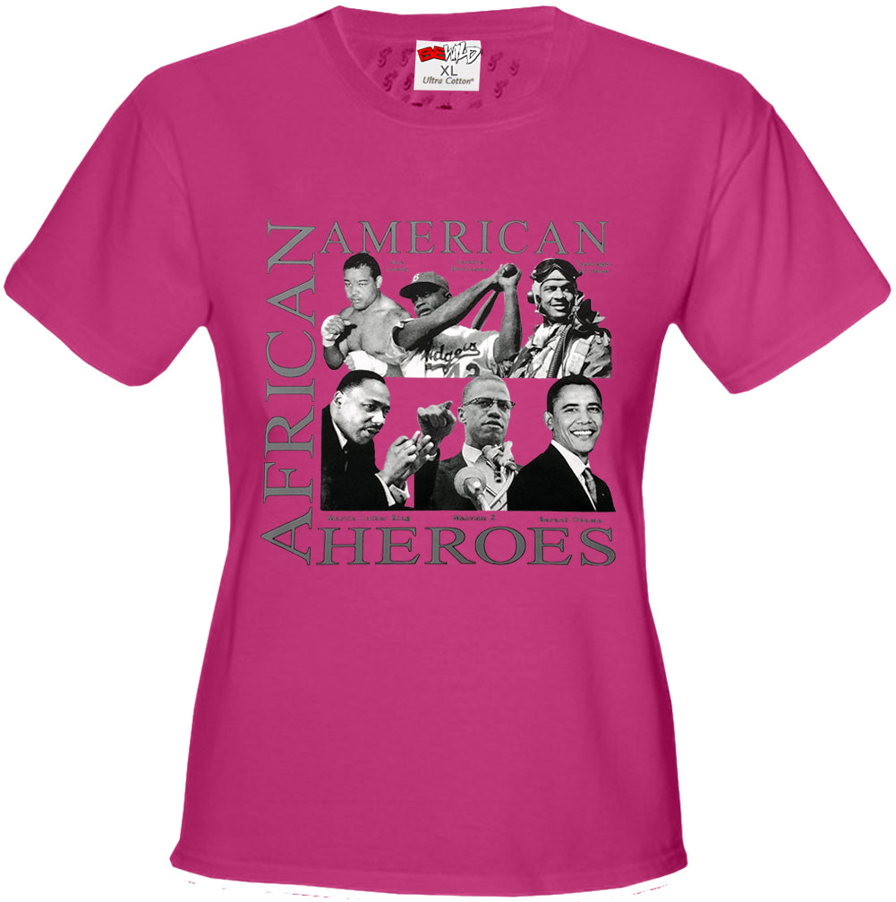 African American Hero Icons Girls T-shirt Hot Pink