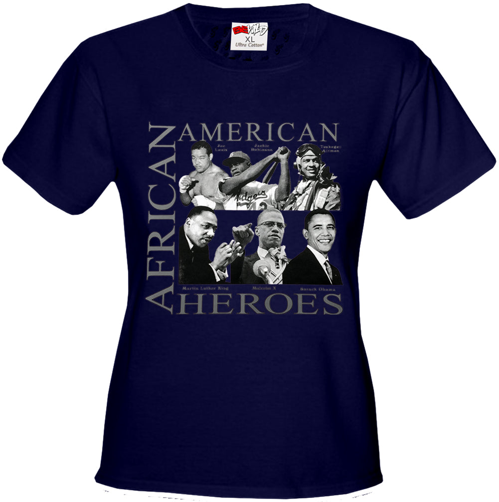 African American Hero Icons Girls T-shirt Navy Blue