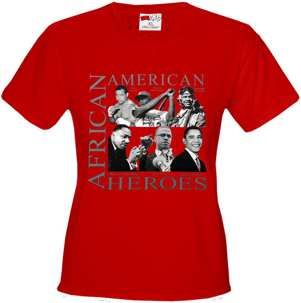 African American Hero Icons Girls T-shirt Red