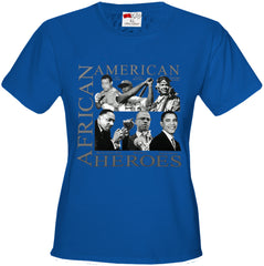 African American Hero Icons Girls T-shirt Royal Blue