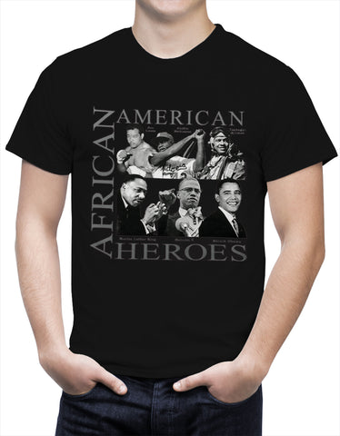 African American Hero Icons Mens T-shirt Black