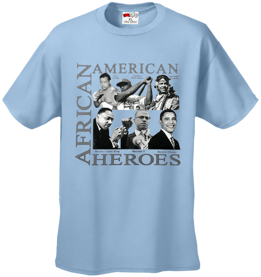 African American Hero Icons Mens T-shirt Light Blue