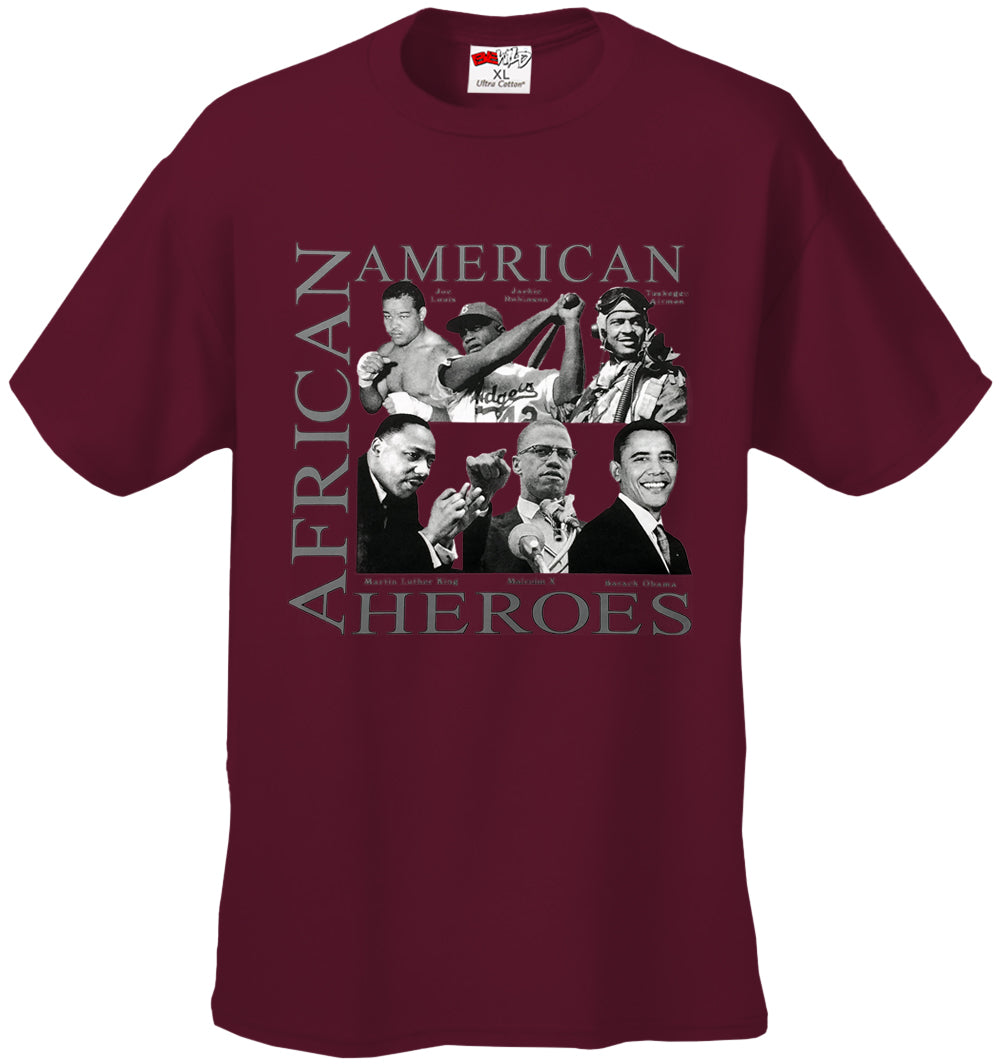 African American Hero Icons Mens T-shirt Maroon