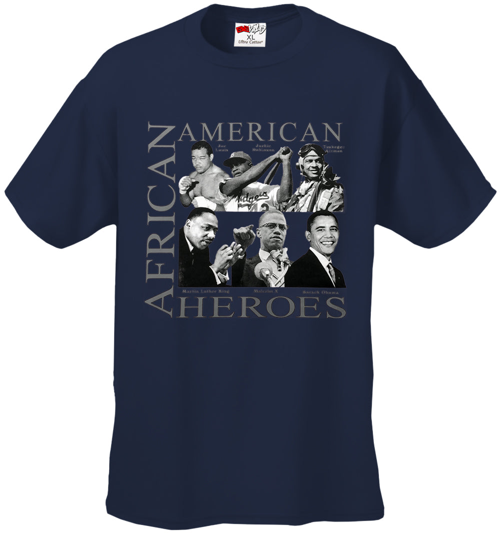 African American Hero Icons Mens T-shirt Navy Blue