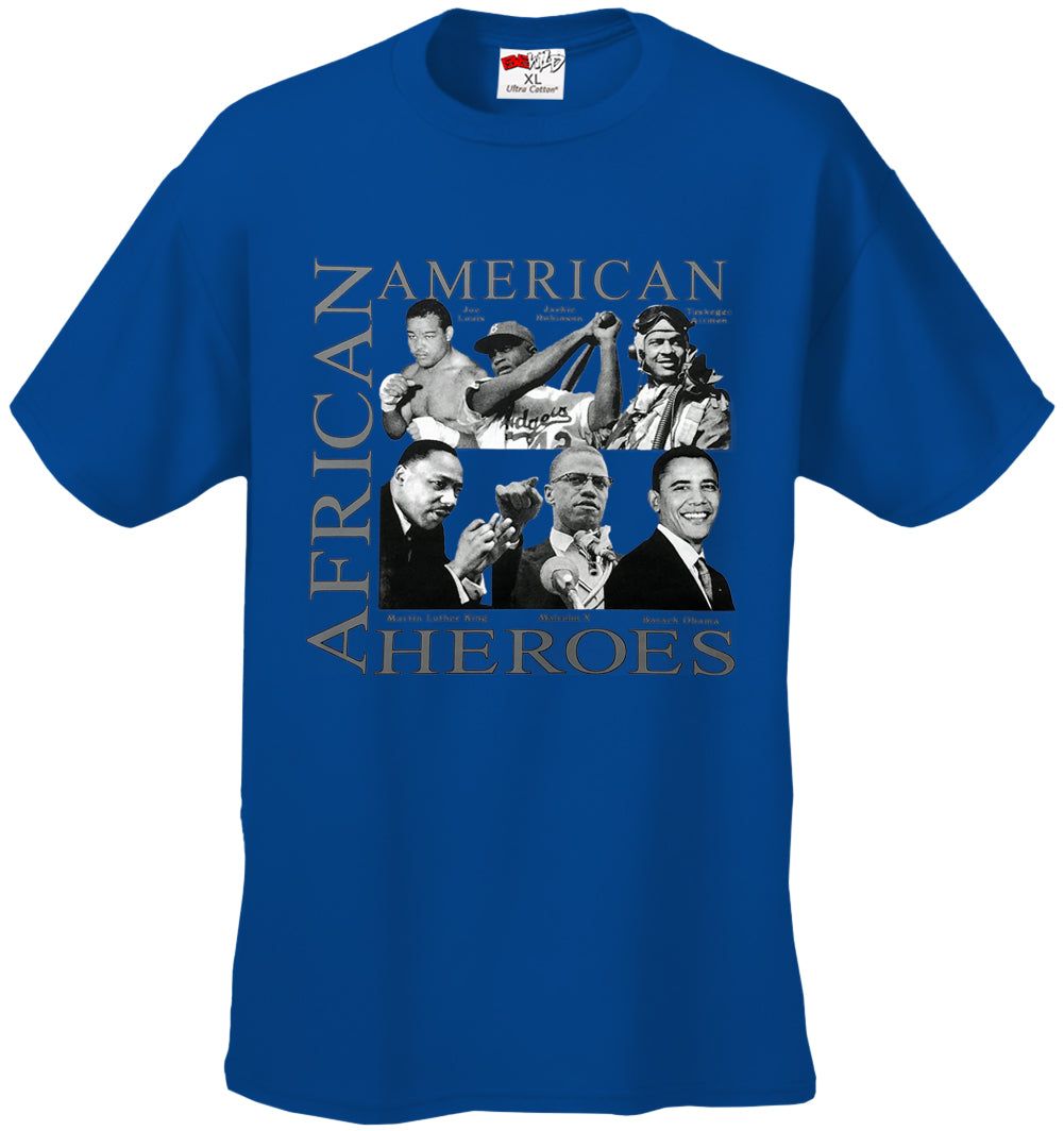 African American Hero Icons Mens T-shirt Royal Blue