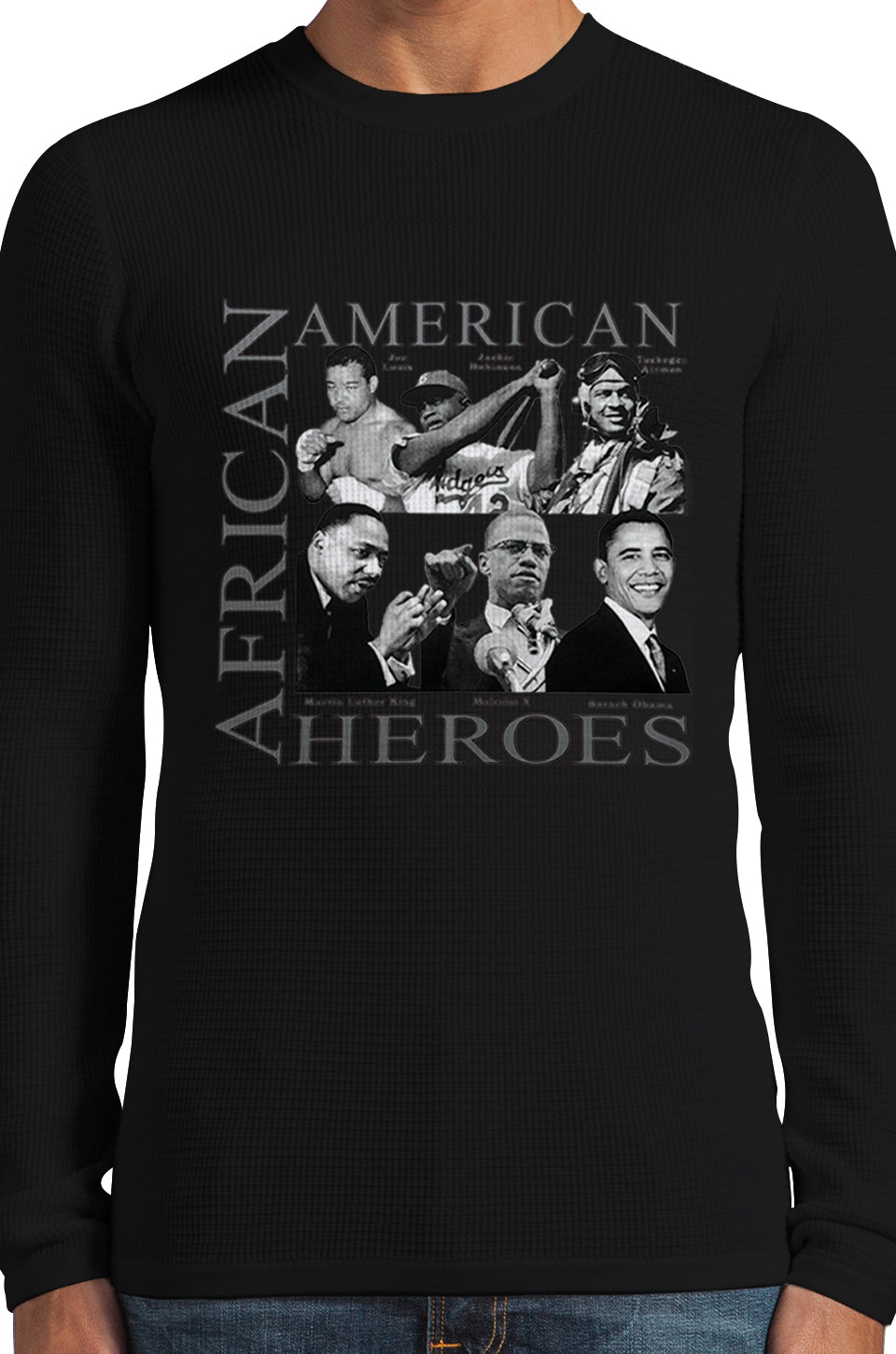 African American Hero Icons Thermal Long Sleeve Shirt Black