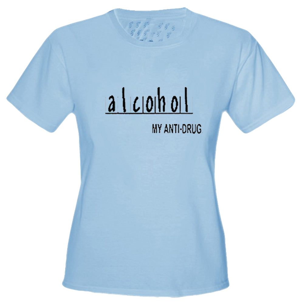 Alcohol Anti-Drug Girls T-Shirt Light Blue
