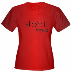 Alcohol Anti-Drug Girls T-Shirt Red