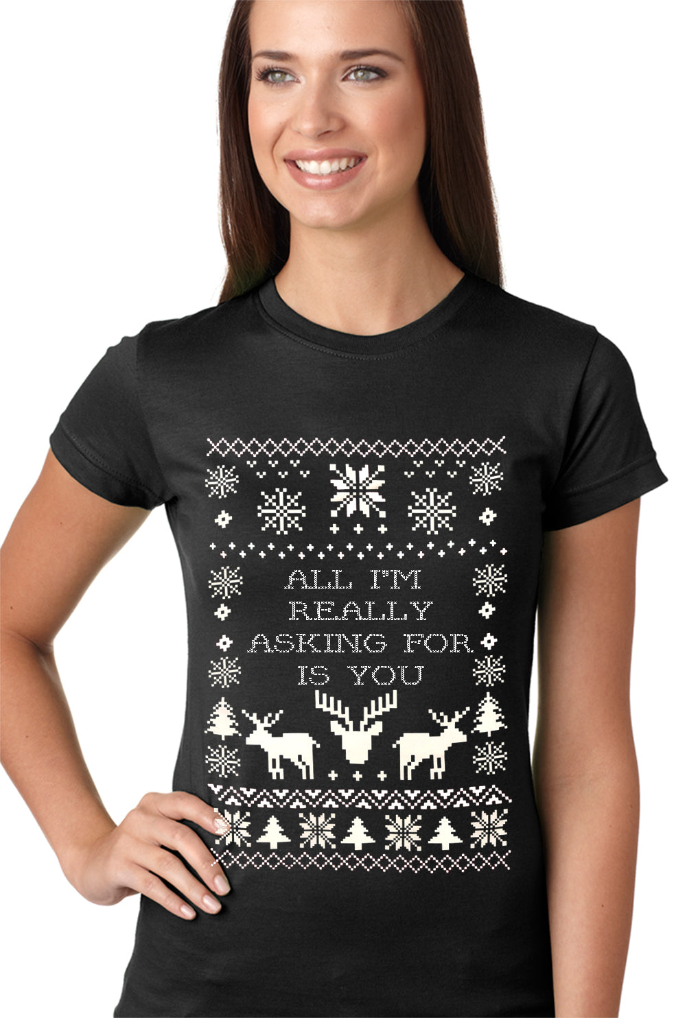 All I'm Really Asking For Is You Ugly Christmas Girls T-shirt Black