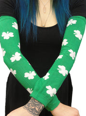 All Over Shamrocks Arm Warmers Green
