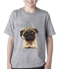 Am I Pugging You Funny Pug Kids T-shirt Grey