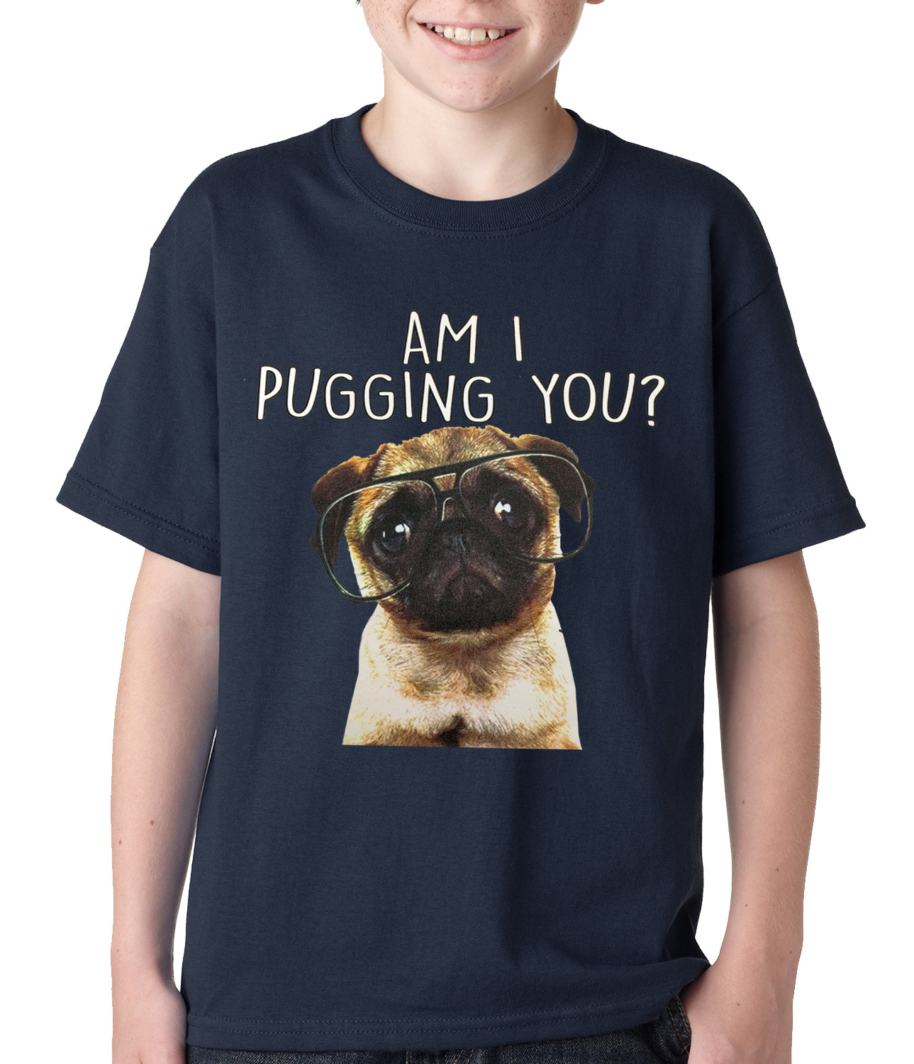 Am I Pugging You Funny Pug Kids T-shirt Black