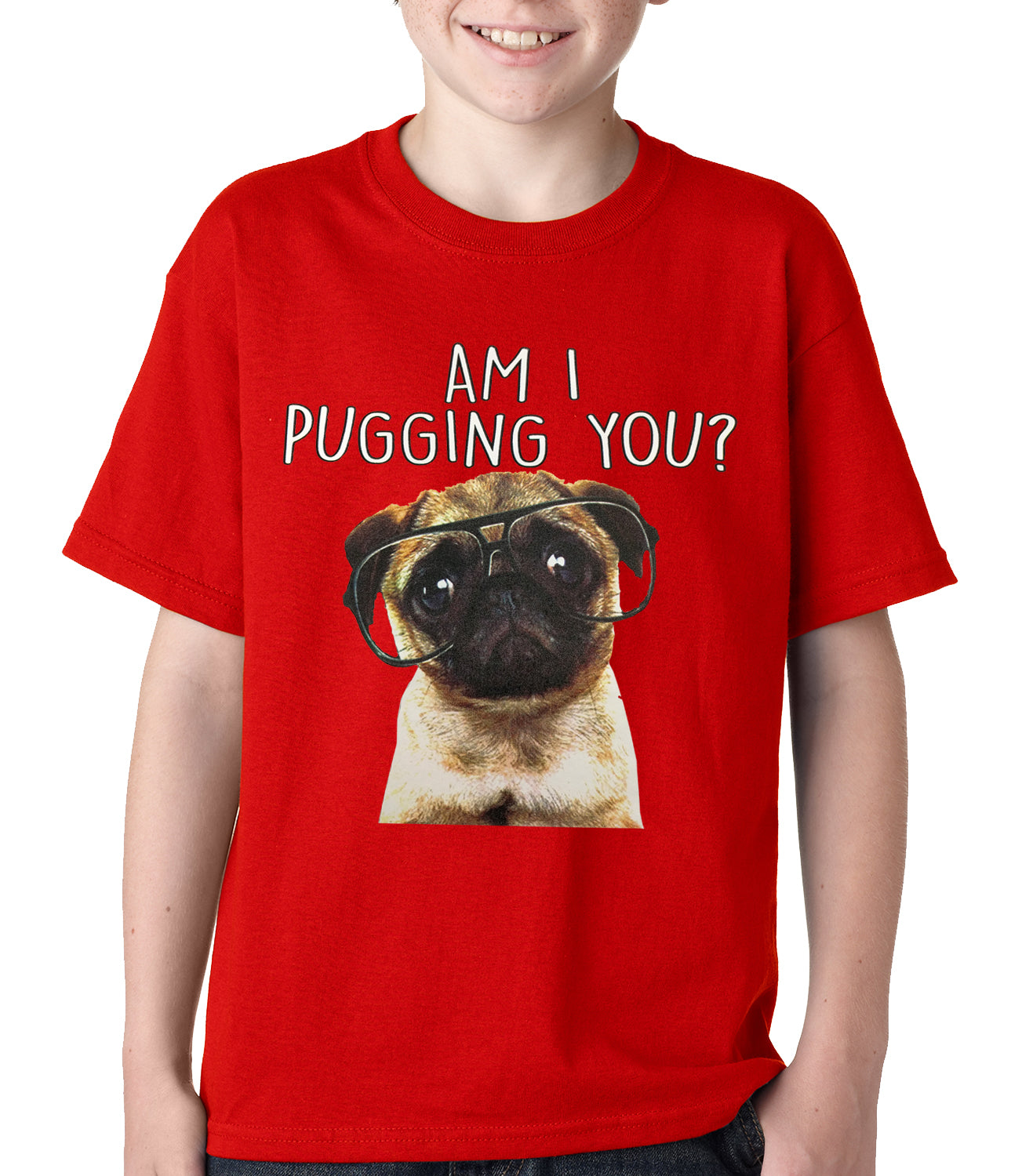 Am I Pugging You Funny Pug Kids T-shirt Red