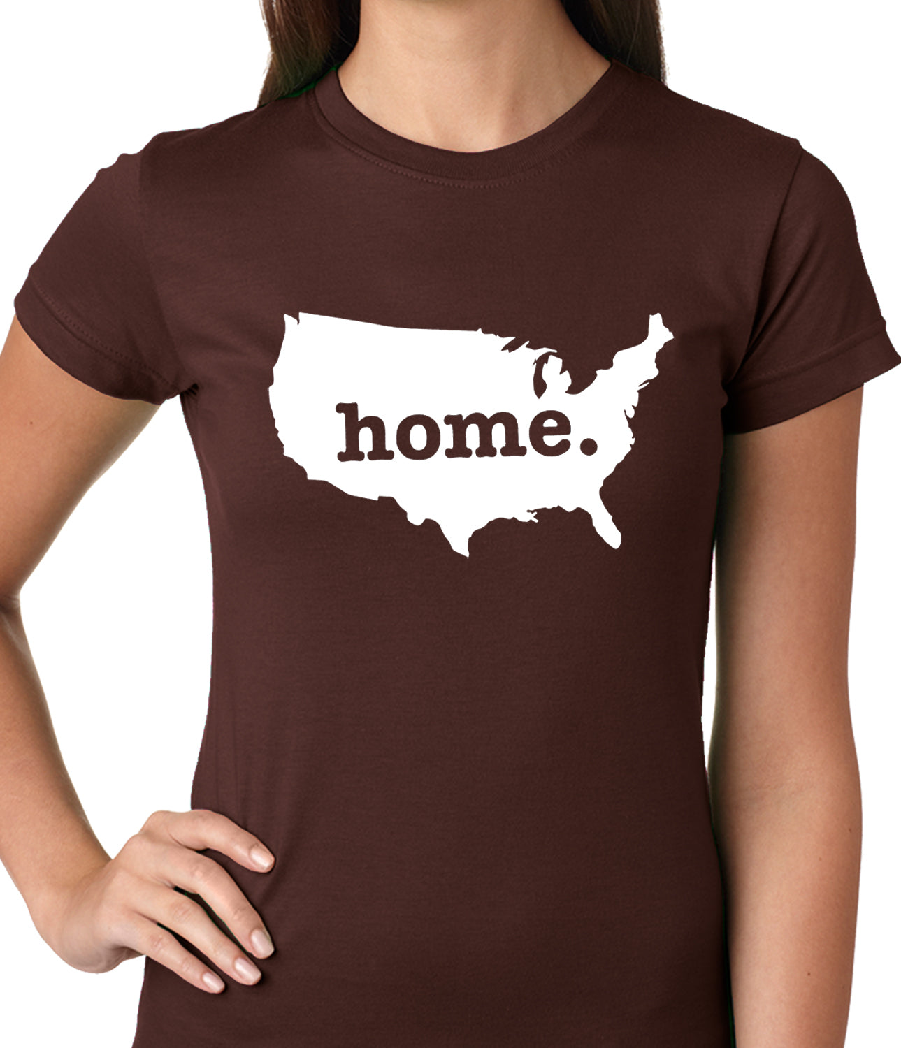 America is Home Girls T-shirt Brown