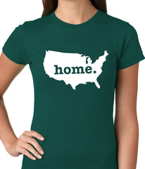 America is Home Girls T-shirt Forest Green