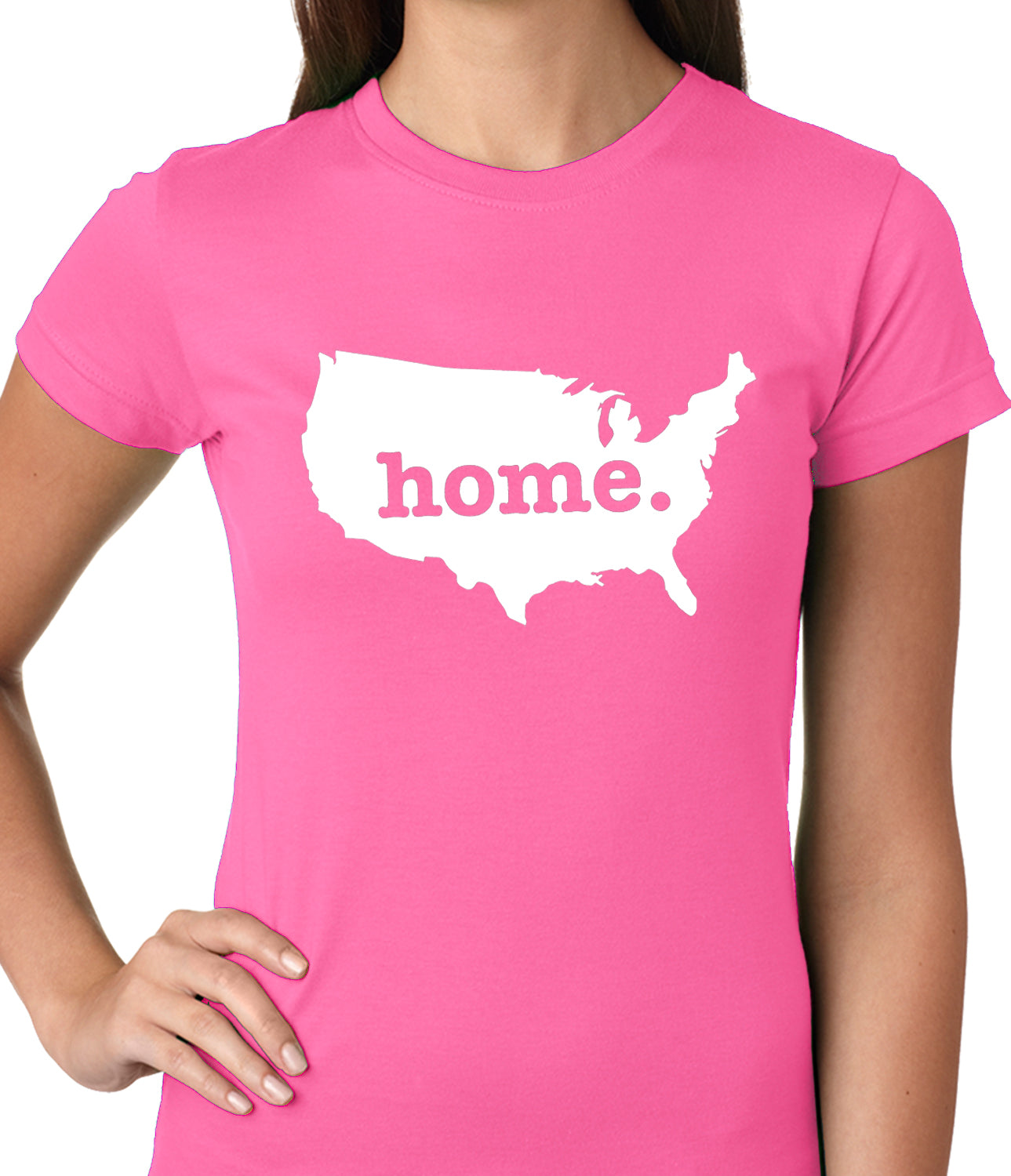 America is Home Girls T-shirt Hot Pink