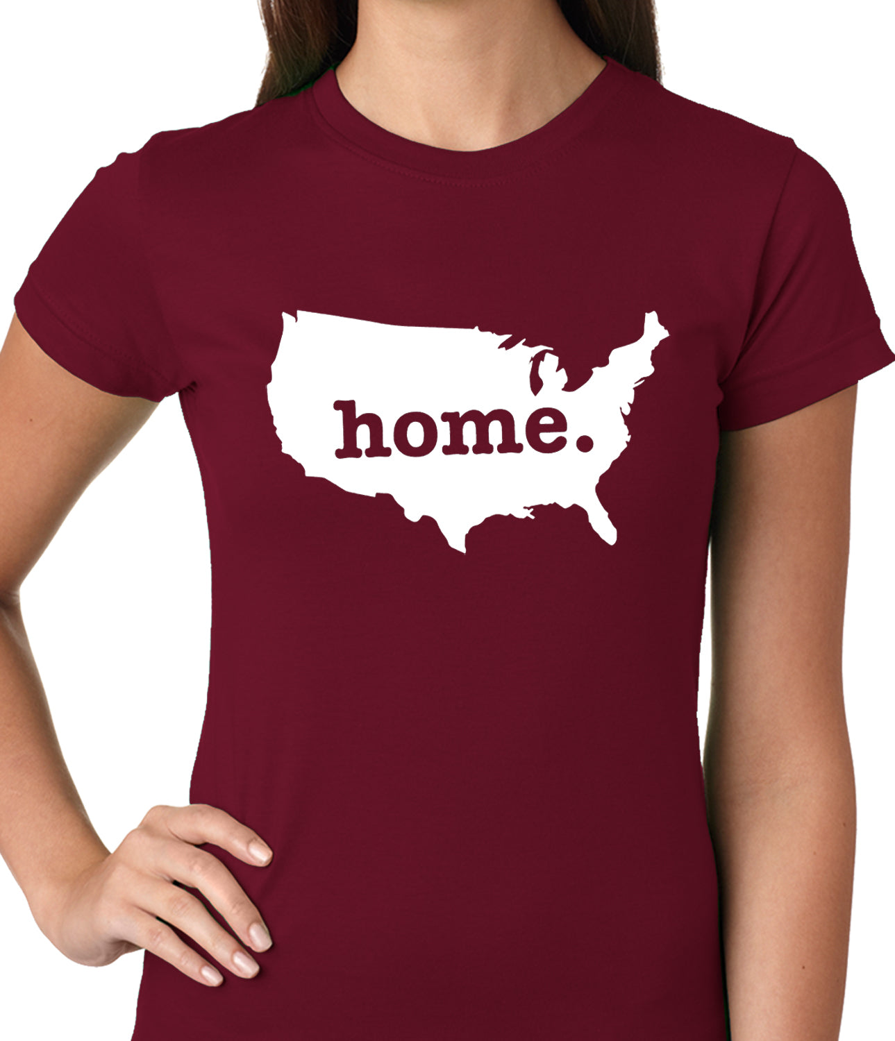 America is Home Girls T-shirt Maroon