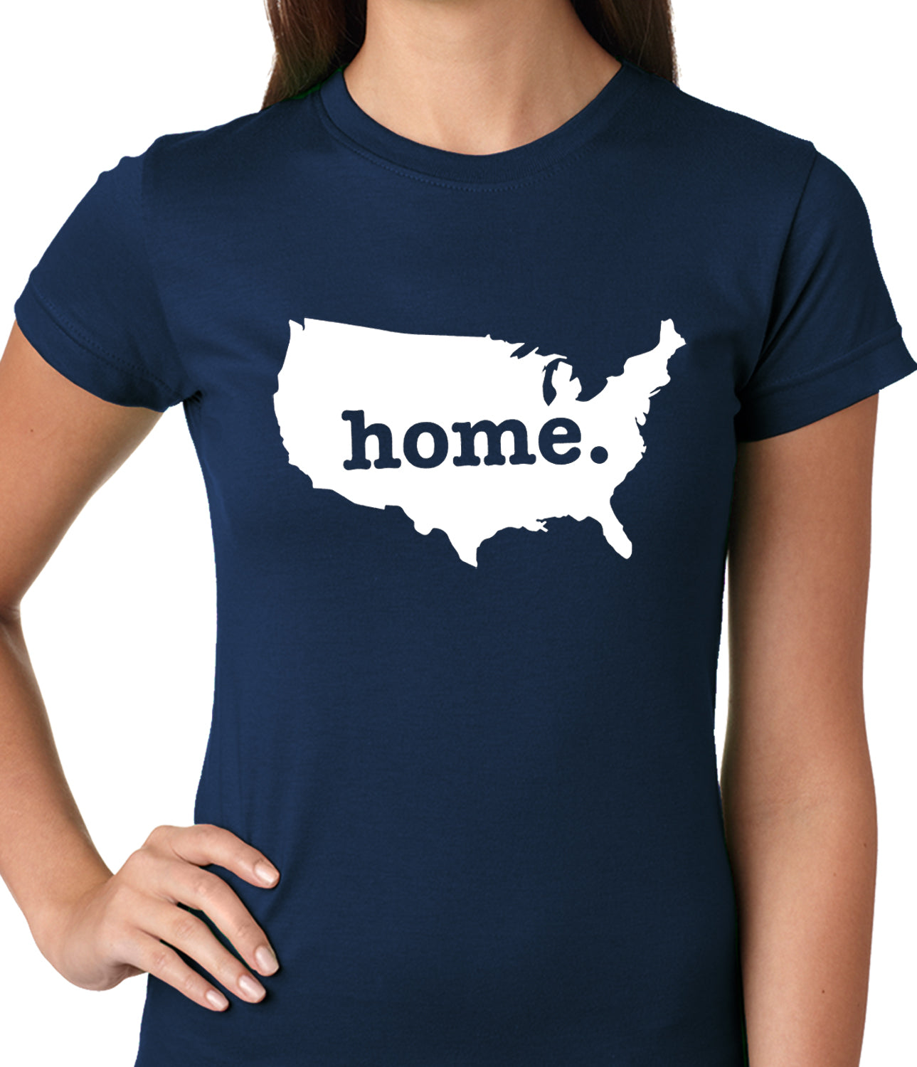 America is Home Girls T-shirt Navy Blue