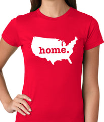 America is Home Girls T-shirt Red