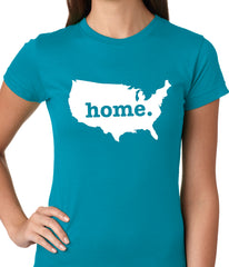 America is Home Girls T-shirt Turquoise
