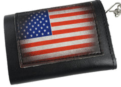 American Flag Leather Chain Wallet