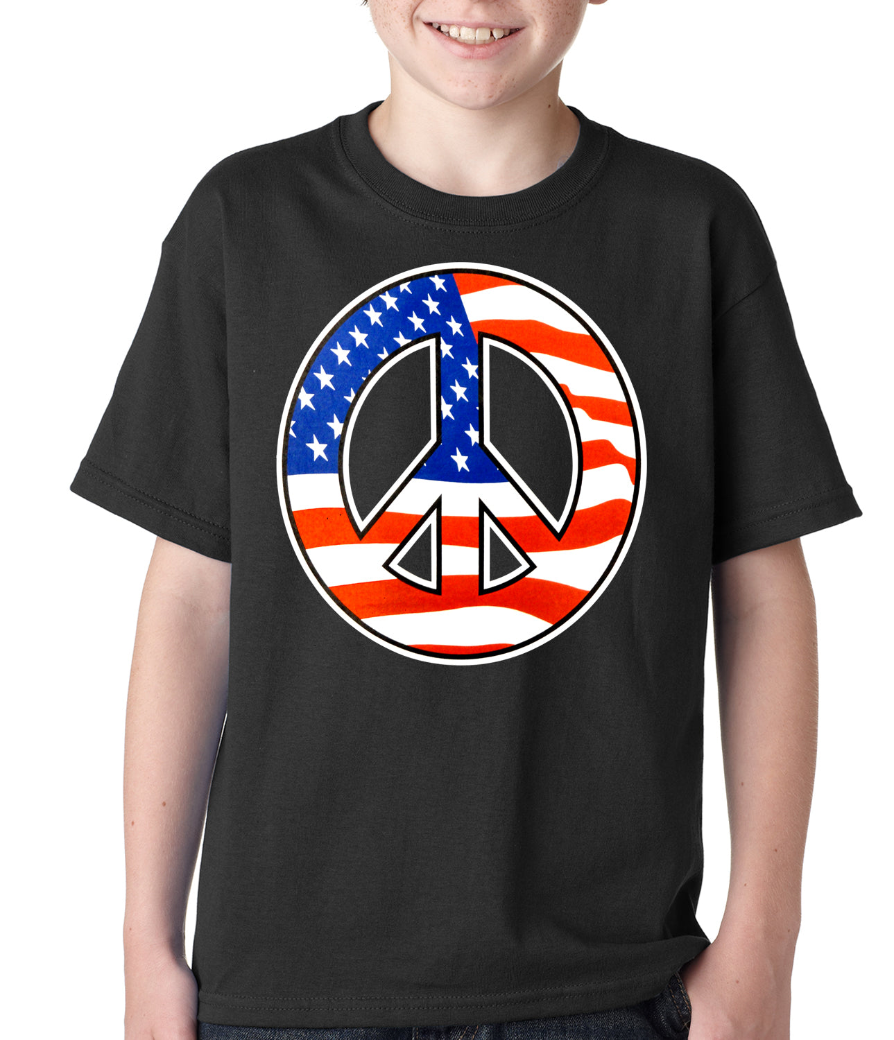 American Flag Peace Sign Kids T-shirt Black