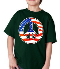 American Flag Peace Sign Kids T-shirt Forest Green