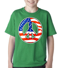 American Flag Peace Sign Kids T-shirt Kelly Green