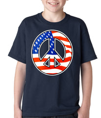 American Flag Peace Sign Kids T-shirt Navy Blue