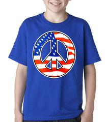 American Flag Peace Sign Kids T-shirt Royal Blue