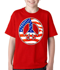 American Flag Peace Sign Kids T-shirt Red