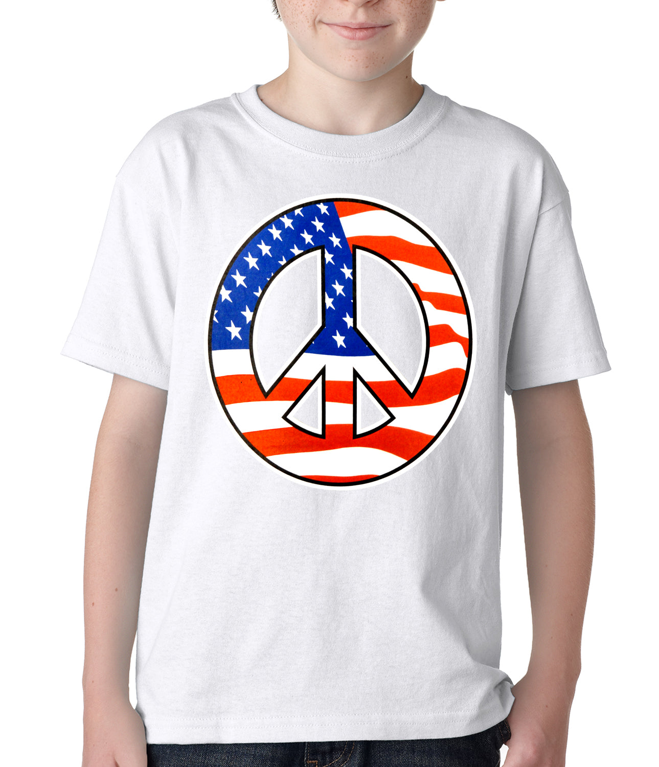 American Flag Peace Sign Kids T-shirt White