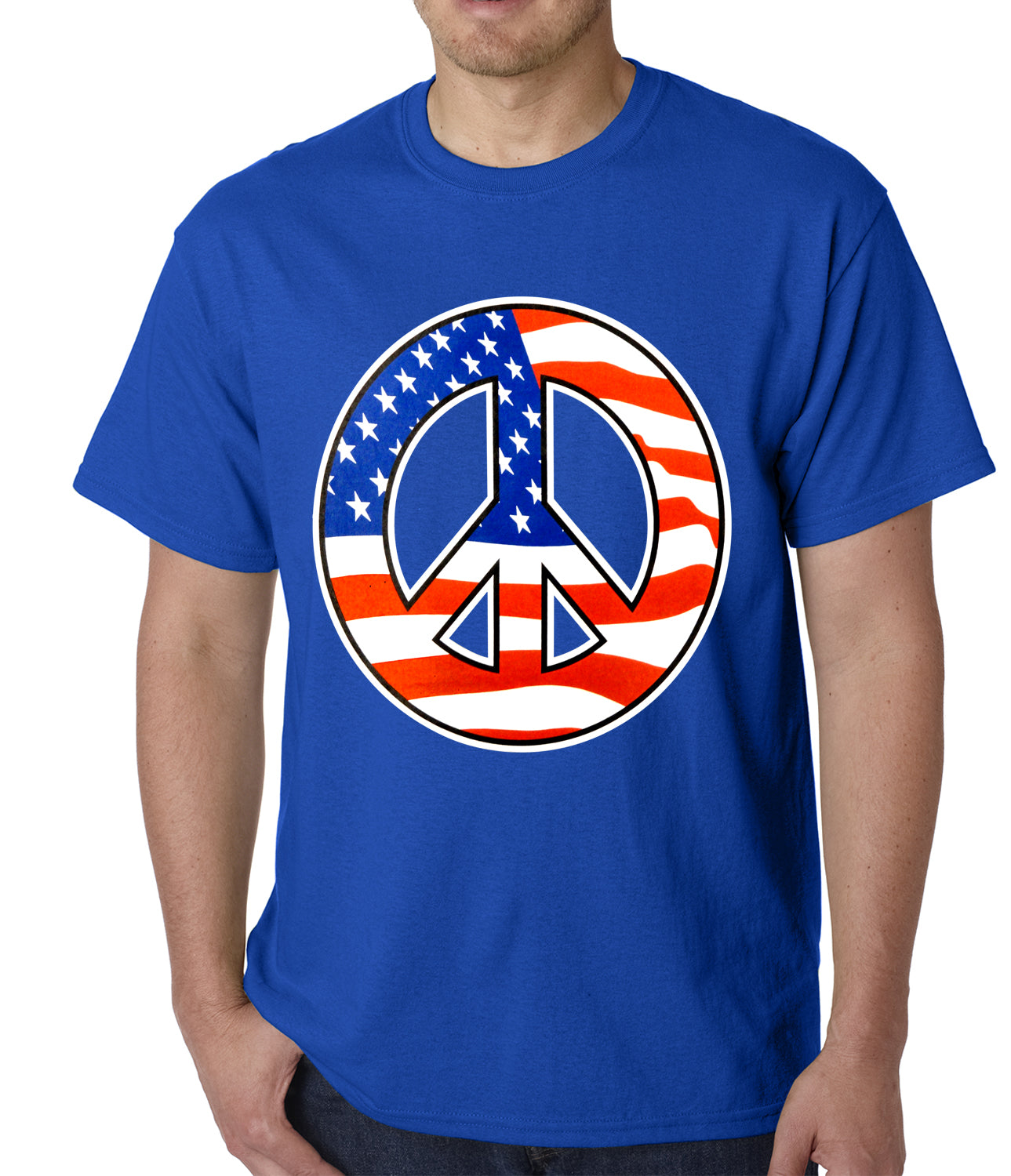 American Flag Peace Sign Mens T-shirt