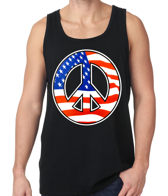 American Flag Peace Sign Tanktop