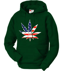 American Flag Pot Leaf Adult Hoodie