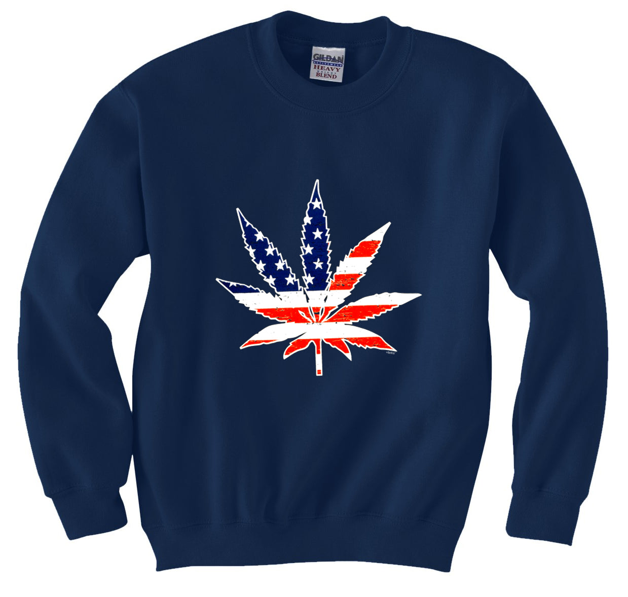 American Flag Pot Leaf Crewneck Sweatshirt