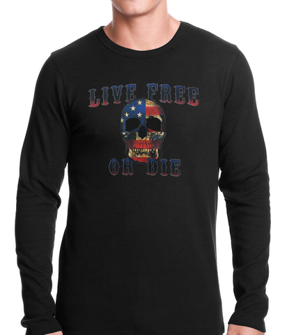 American Flag Skull - Live Free or Die Thermal Shirt