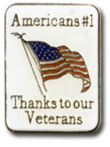 Americans #1 Thanks To Our Troops Lapel Pin