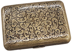 Antique Brass Paisley Cigarette Case Front View