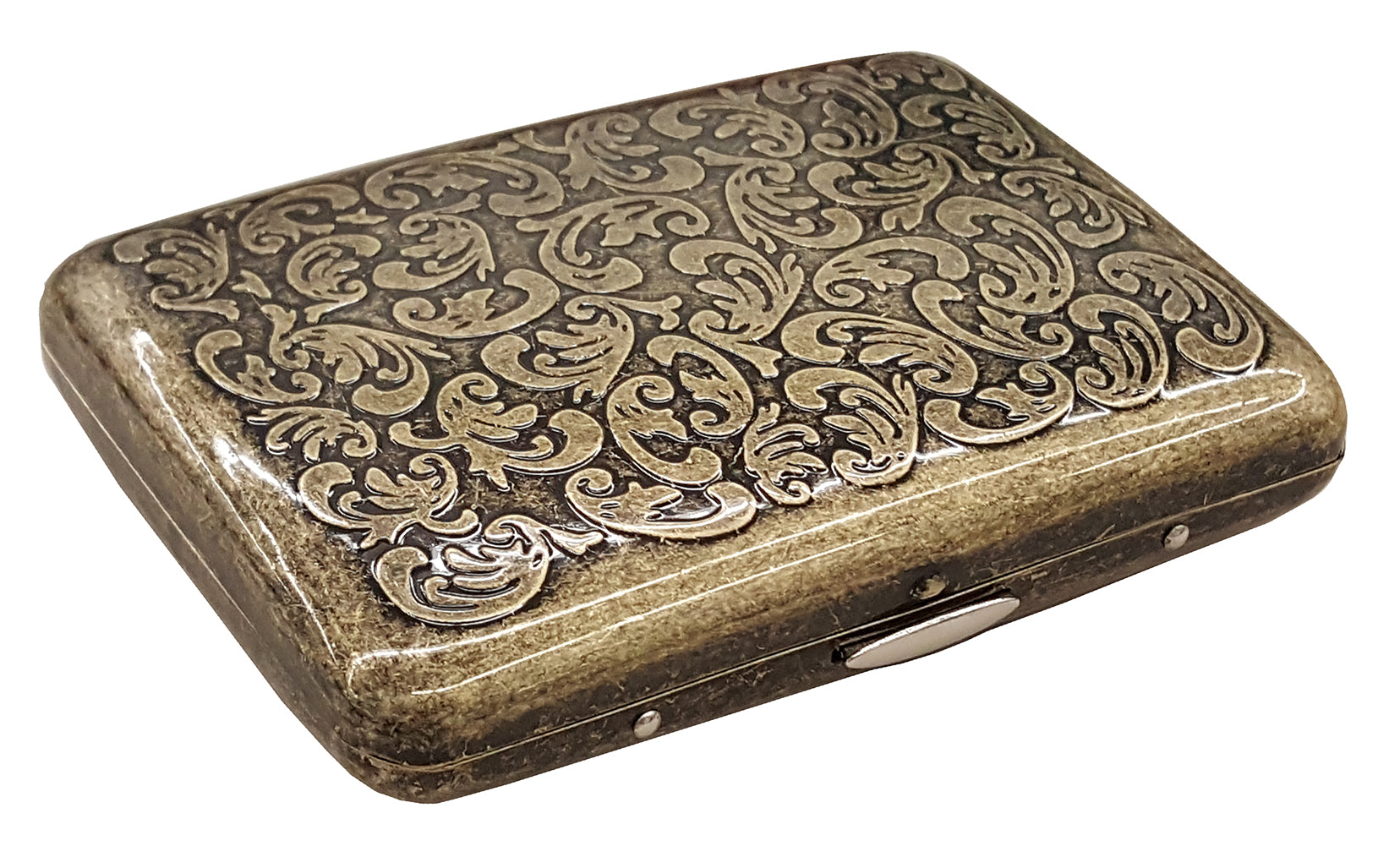 Antique Brass Paisley Cigarette Case (Regular Size Cigarettes)