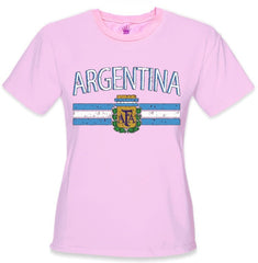 Argentina Vintage Flag International Girls T-Shirt Hot Pink