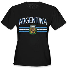Argentina Vintage Flag International Girls T-Shirt Black
