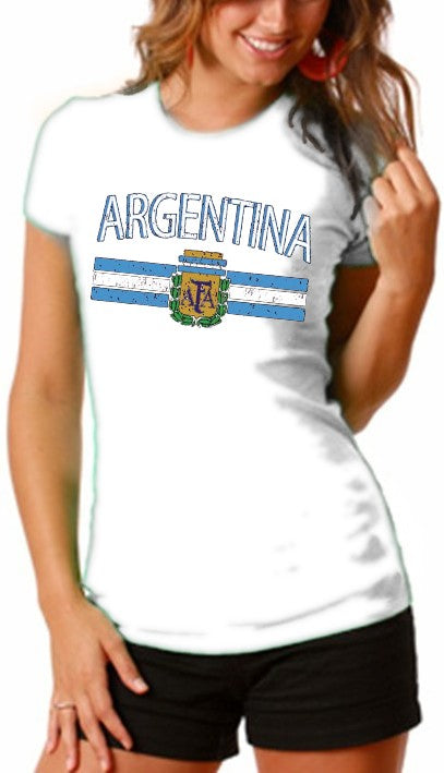 Argentina Vintage Flag International Girls T-Shirt White