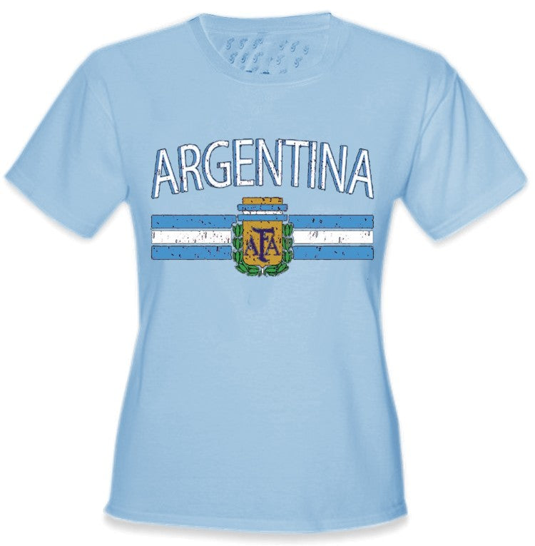 Argentina Vintage Flag International Girls T-Shirt Light Bule