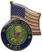 Army and Flag Lapel Pin