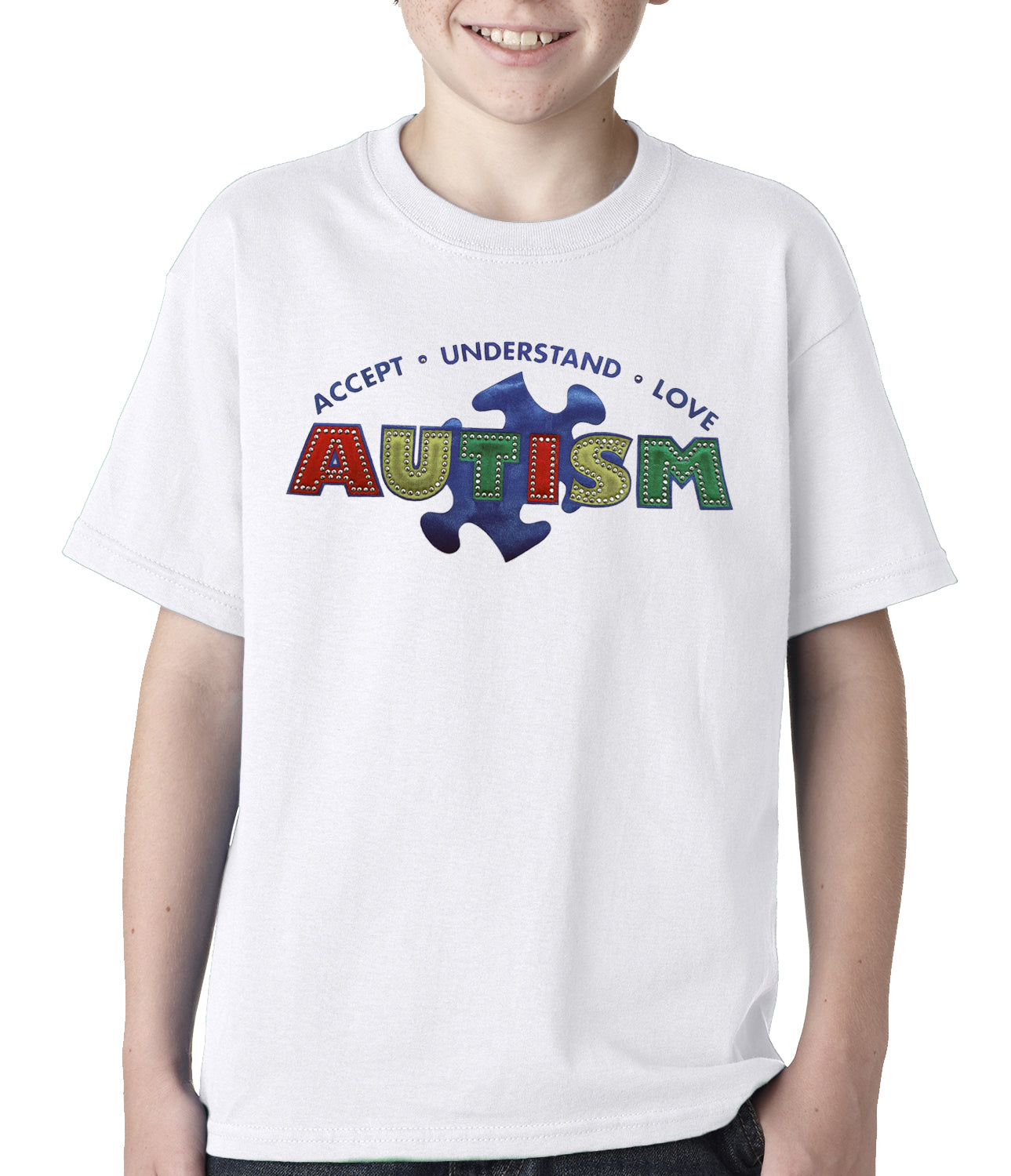 Autism Awareness - Accept, Understand, Love Kids T-shirt White