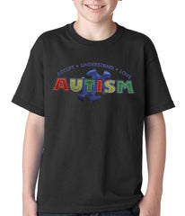 Autism Awareness - Accept, Understand, Love Kids T-shirt Black
