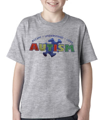 Autism Awareness - Accept, Understand, Love Kids T-shirt Heather Grey